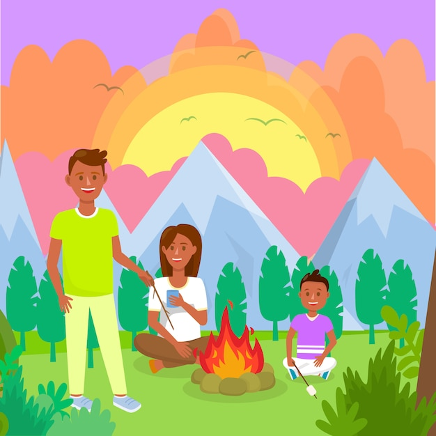 Camping with family in mountains flat drawing. Premium Vector