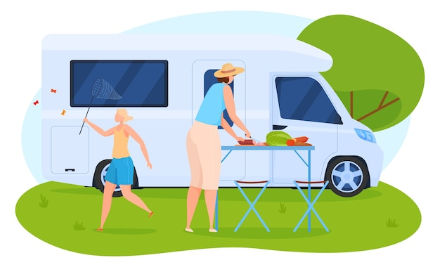Camping, woman preparing lunch near the house on wheels, girl with a net catches butterflies. cartoon style Premium Vector