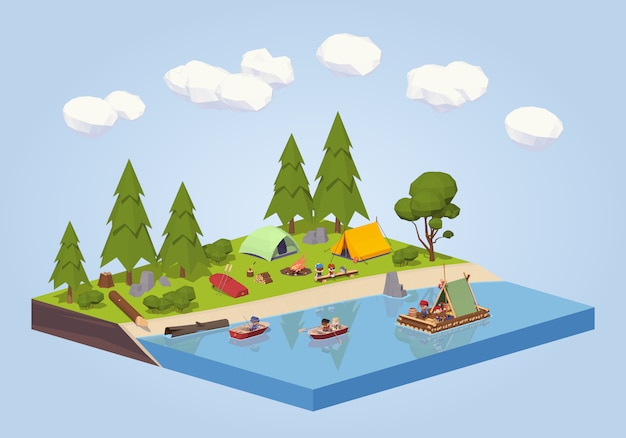Campsite near the river. Premium Vector