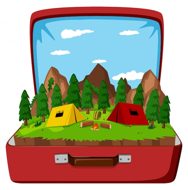 A campsite in the vintage bag Free Vector