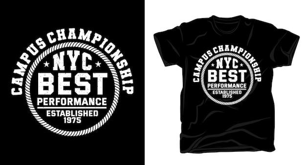 Типография университетского чемпионата для дизайна футболки Premium векторы