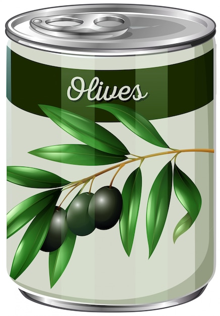 A can of black olives Free Vector