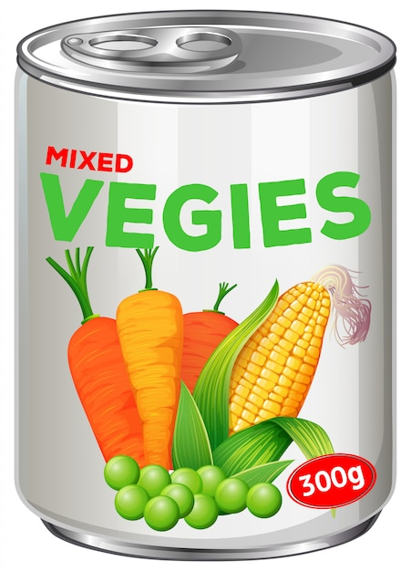 Can of mixed vegies Free Vector