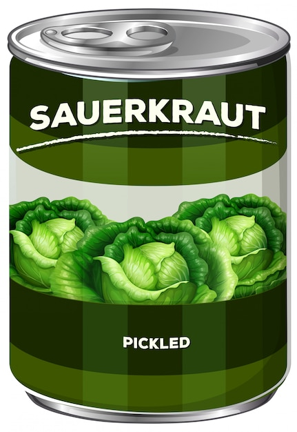 Can of pickled sauerkraut Free Vector