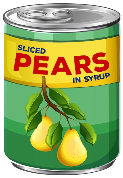 A can of sliced pears in syrup Free Vector