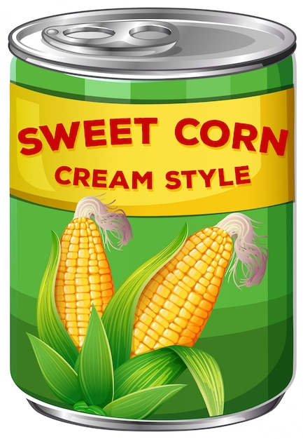 A can of sweet corn cream style Free Vector