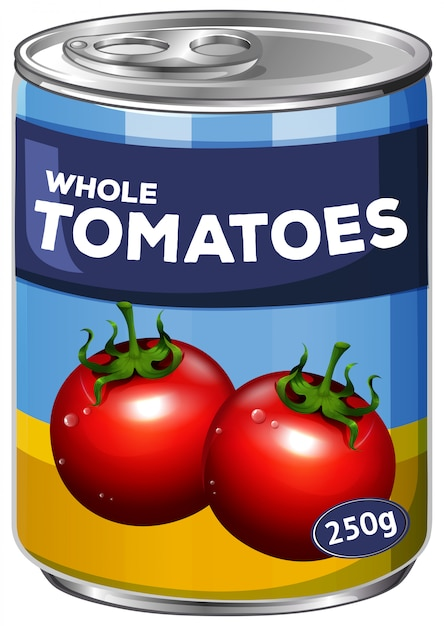 A can of whole tomatoes Free Vector