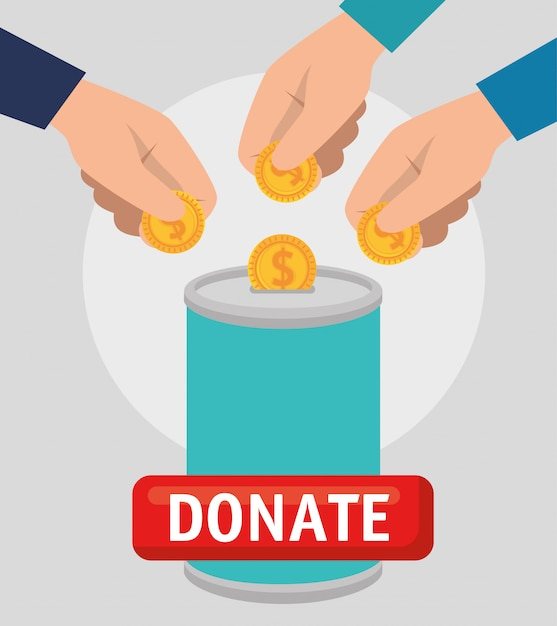 Can with money for charity donation Free Vector