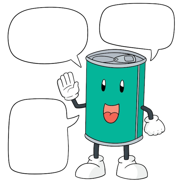 Can with speech bubbles Premium Vector
