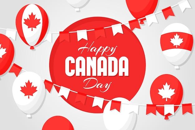 カナダの日風船の背景 無料ベクター
