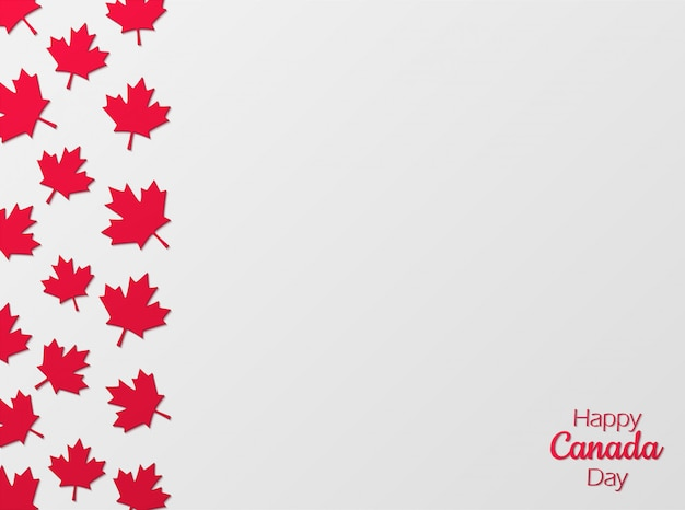 Canada day celebration background in paper cut style. Premium Vector