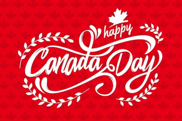 Lettering di giorno del canada con saluto Vettore gratuito