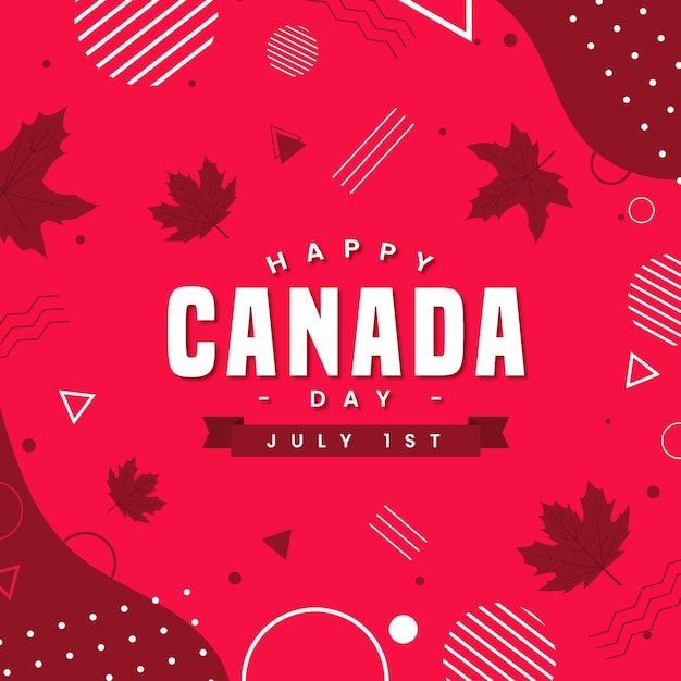 点と線でカナダの日 Premiumベクター