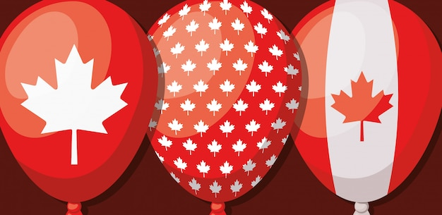 Canada Day With Maple Leaf Free Vector