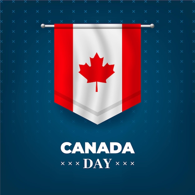 Canada day with realistic flag Free Vector