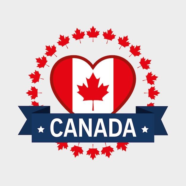 ハート型のベクトルイラストデザインとカナダの国旗 Premiumベクター