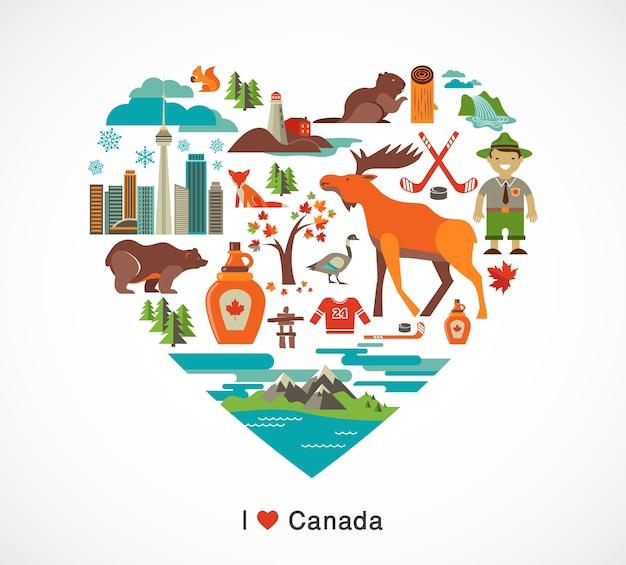 Канада любовь - сердце с множеством клипартов и иллюстраций Premium векторы