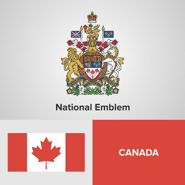Canada Map Flag.Canada Map Flag And National Emblem Vector Premium Download