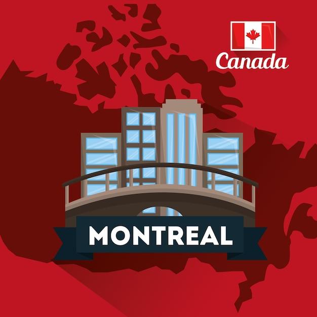 Canada montreal city building bridge map Vector | Premium