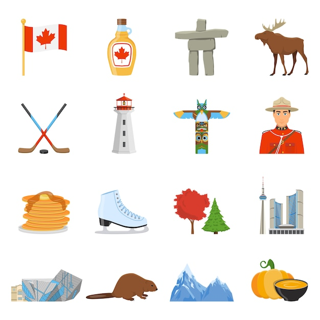 Canada national symbols flat icons collection Free Vector