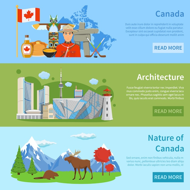 Canada travel information 3 flat banners Free Vector