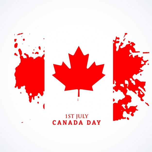 canadian flag in grunge style vector free download