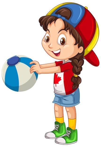 カラーボールを保持しているカナダの女の子 無料ベクター