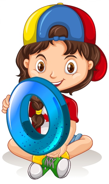 Canadian girl wearing cap holding math number zero Free Vector