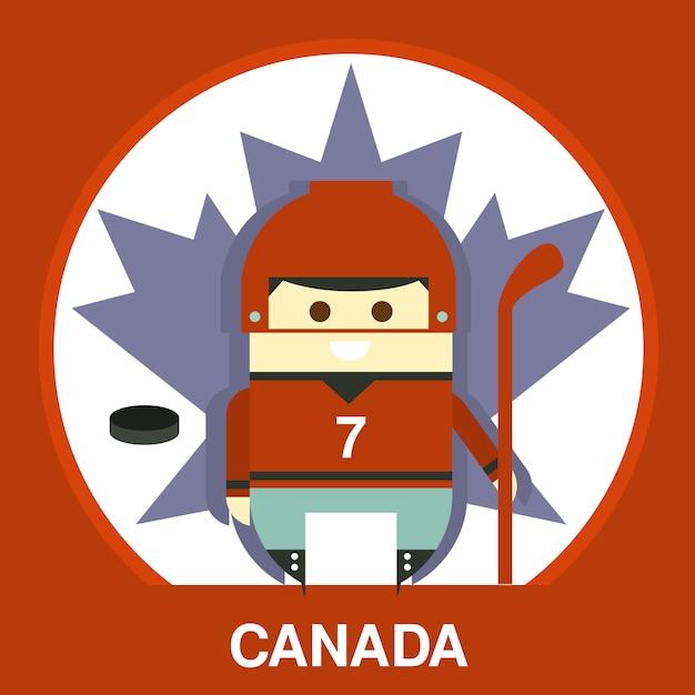 Канадец в хоккейной форме иллюстрация Premium векторы