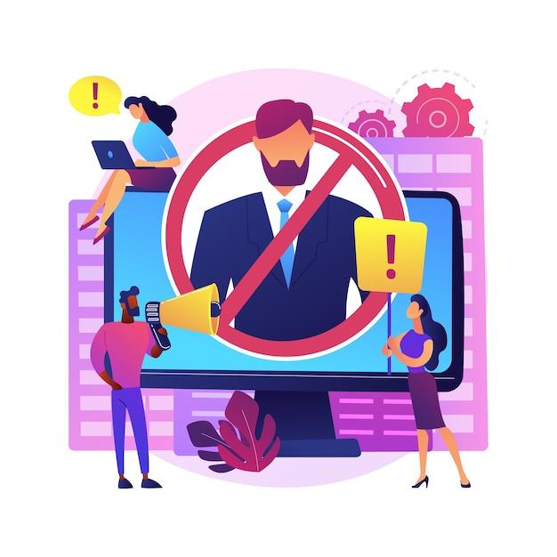 文化抽象概念イラストをキャンセルします。個人またはコミュニティ、ソーシャルメディアプラットフォーム、インターネット批評、公人、有名人、グループの恥、ボイコットをキャンセルします。 無料ベクター