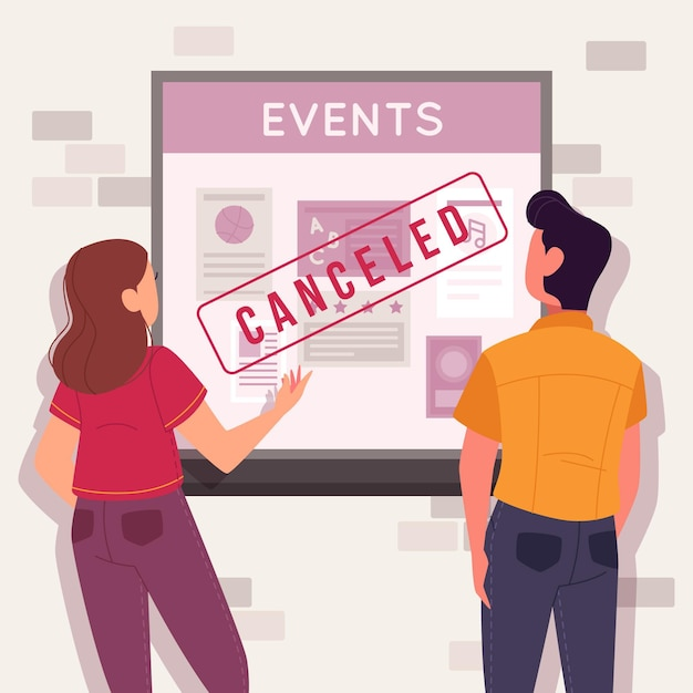 Cancelled events announcement Free Vector