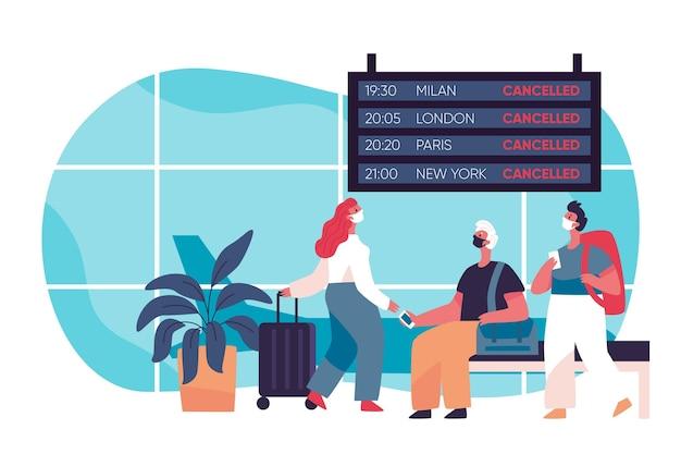 Отменен рейс в аэропорту Бесплатные векторы