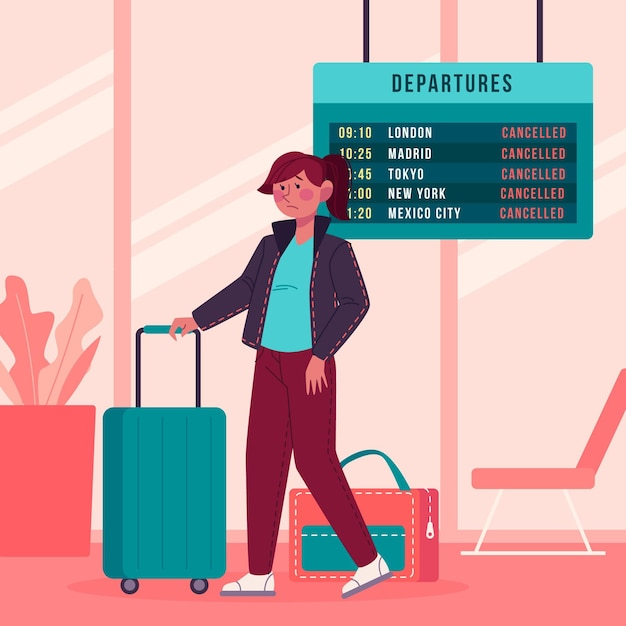 Отмененный рейс иллюстрируется Бесплатные векторы