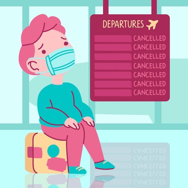 Cancelled flight illustration concept Free Vector