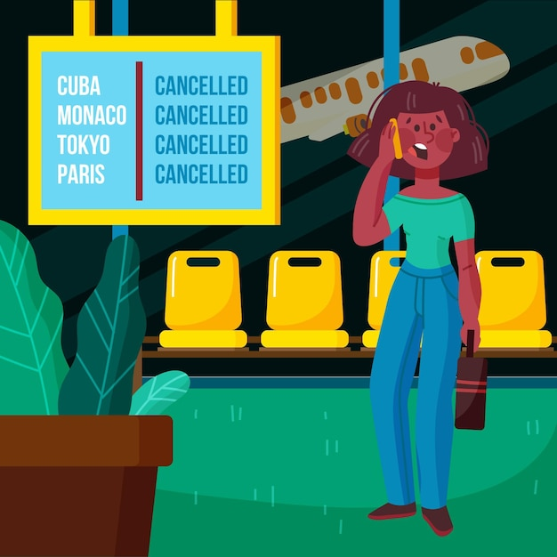 Cancelled flight illustration Free Vector
