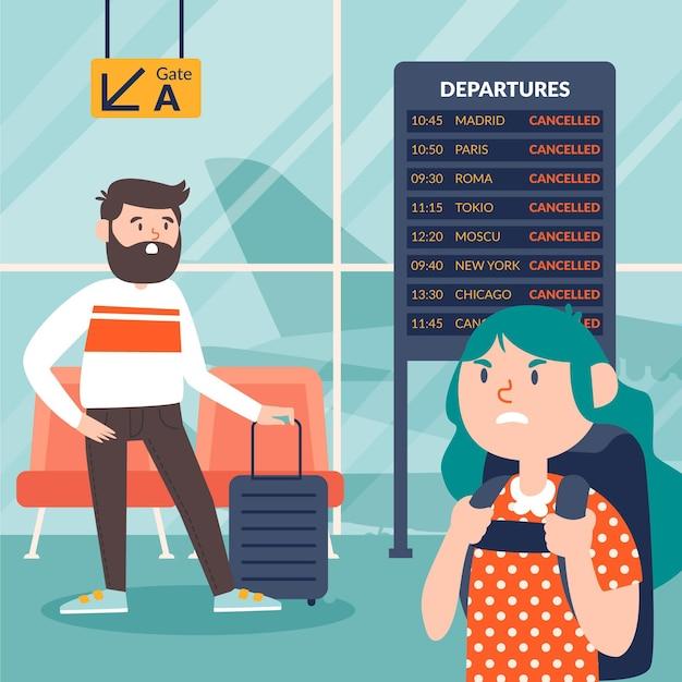 Иллюстрация отмененного рейса Бесплатные векторы