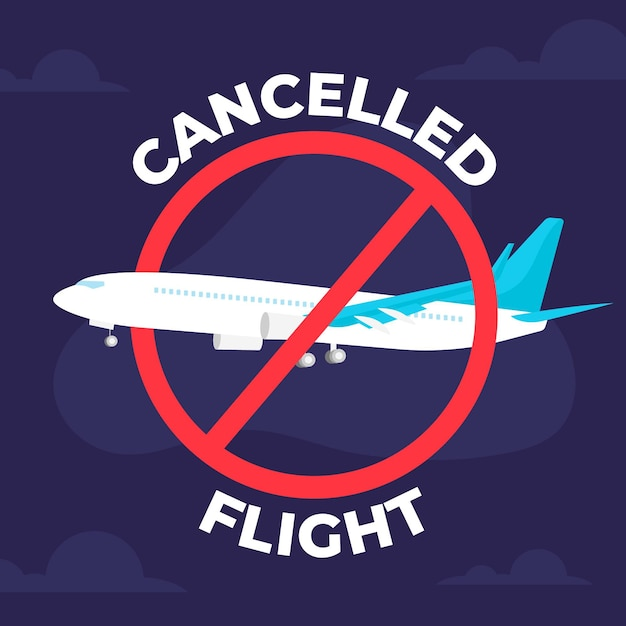 Cancelled flight and travelling concept Free Vector