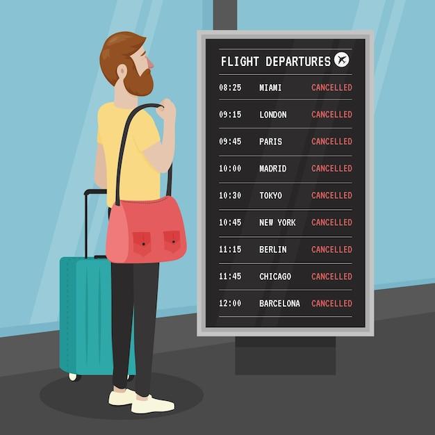 Отменен рейс с человеком Бесплатные векторы