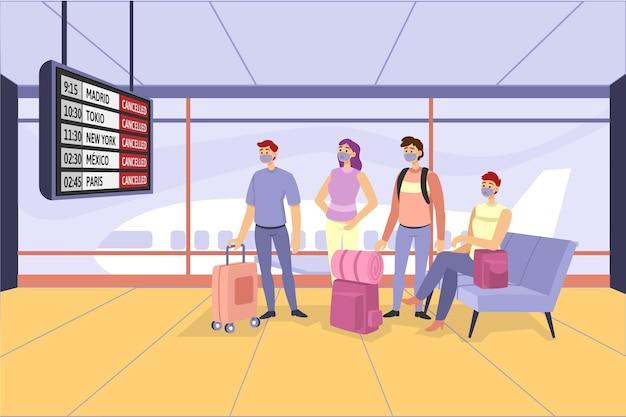 Отменен рейс с пассажирами Бесплатные векторы