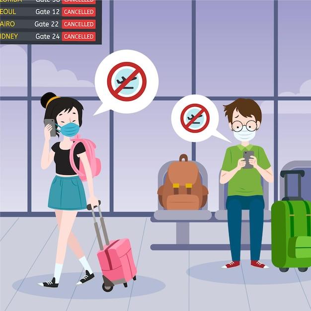 Отменен рейс с людьми в аэропорту Бесплатные векторы