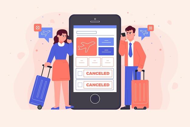 Отменен рейс со смартфоном и людьми Бесплатные векторы