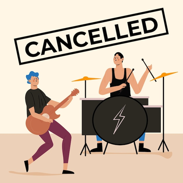 Cancelled musical events concept Free Vector