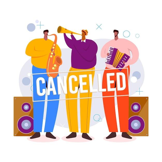 キャンセルされた音楽イベントのコンセプト 無料ベクター