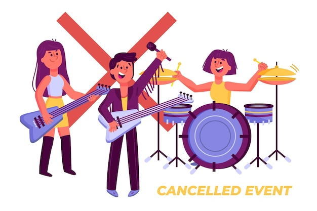 Cancelled musical events design Free Vector