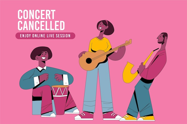 Cancelled musical events with band Free Vector