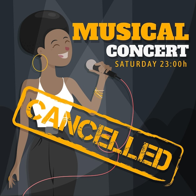 Cancelled musical events with female singer Free Vector