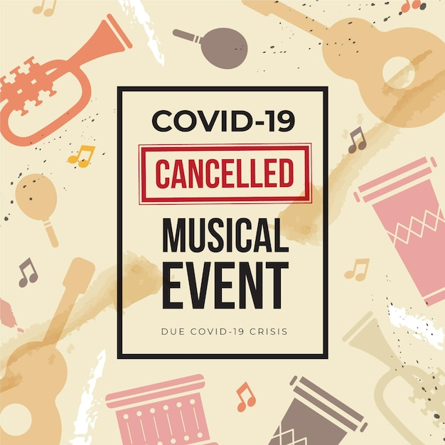 Cancelled musical events with instruments Free Vector