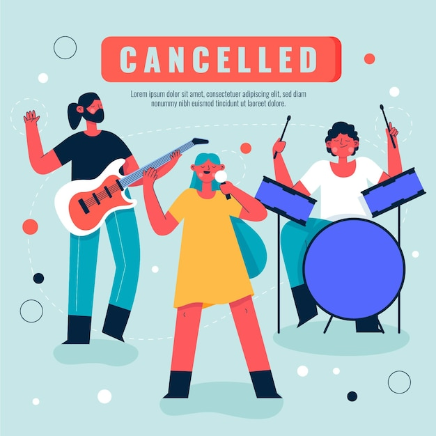 Cancelled musical events Free Vector