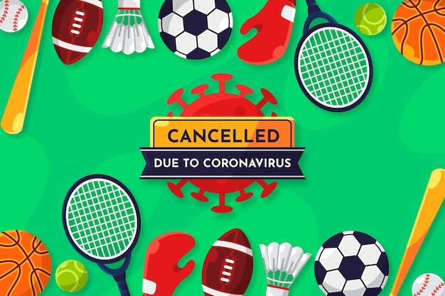 Cancelled sporting events due to coronavirus background Premium Vector