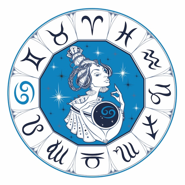 Cancer astrological sign as a beautiful girl. zodiac Premium Vector